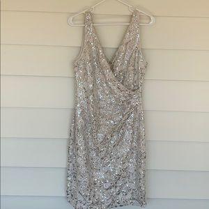 Vince Camuto V-Neck White Sequined Sheath Dress